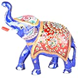 Rajgharana Handicrafts Multi Color Metal Meenakari Delightful Elephant - (11 Cm X 15 Cm)