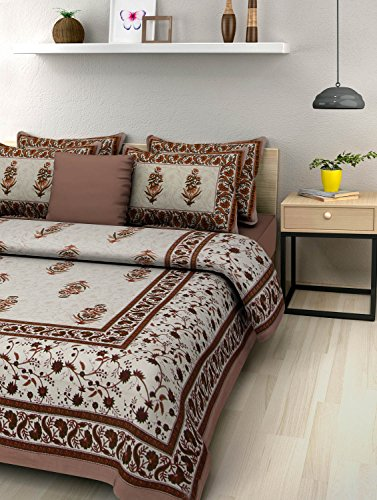 5e46bce93ce UniqChoice Brown Color Jaipuri King Size Double Bed Sheet With 2 Pillow  Cover