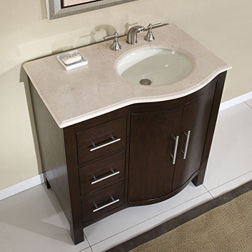 bathroom vanity with off center sink silkroad exclusive marble top center single sink 25008