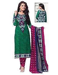 SGC Green & Pink Cotton Printed Unstitched Churidar Kameez (SH-11621)