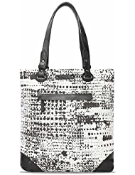Bareskin Black Abstract Print Canvas Tote Bag With Genuine Black Color Leather Trimming For Women/branded Tote...