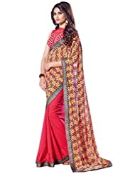 Ethnic Station Red Lace Work Saree - B00QYJX6XE
