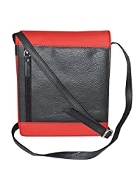 Leather Travel Unisex Premium Sling Bag Black And Red