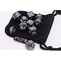 10 Piece Black Grey Smoke Polyhedral Dice Set - Includes Four Six Sided Dice D6 And Free Small Dice Bag