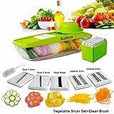 Kainnt Mandoline Slicer/Pflanzliche Slicer/Gemüsehobel 5 in 1 Profi-Mandoline Reibe - Schneiden oder Zerteilen Gemüse Obst schnell und gleichmäßig Best Gemüseschneider Slicer mit 5 verschiedenen Qualitäts-Edelstahl-Klingen, eine Push-Sicherheit und einem Vorratsbehälter