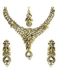 Shining Diva Kundan Necklace Set With Maang Tika For Women