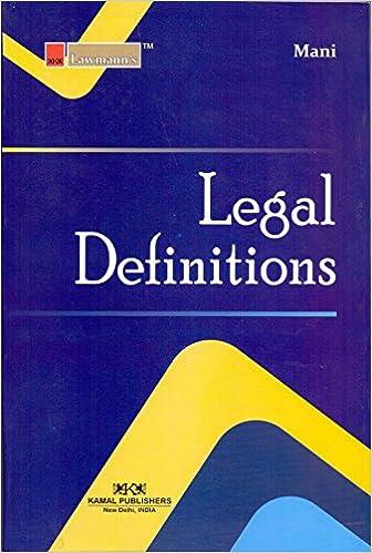 Legal Definitation (Lawmann's) by Kant Mani (Author)