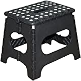 Jeronic 11 Inches Super Strong Folding Step Stool For Adults And Kids Black Kitchen Stepping Stools Garden Step...