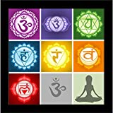 ArtzFolio Yoga Chakras Symbols - Small Size 10.0 Inch X 10.1 Inch - PREMIUM CANVAS Wall Paintings With BLACK FRAME : DIGITAL PRINT Wall Posters Art Panel Like Hand Paintings : Home Interior Wall Décor Photo Gifts & Decorative Paintings For Bedr
