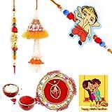 Gomati Ethnic Ethnic Meenakari Pooja Thali Raksha Bandhan Gift Rakhi For Brother With Gift Combo And Rakhi For Bhaiya Bhabhi Combo Free Shipping+Roli+Chawal+Greeting Card !!-1Bbkts540