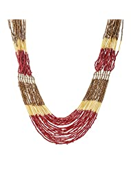 The Fine World Pine And Brass Red And Golden Necklace For Women - B00PIOV2OG