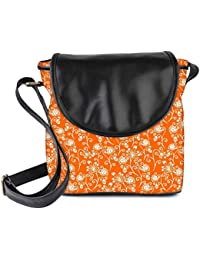 Snoogg Colorful Floral Seamless Pattern In Cartoon Style Seamless Pattern Womens Sling Bag Small Size Tote Bag