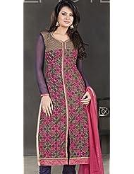 Designer Dress Material Gold Pink Navy Blue Semi Stiched Straight Cut Salwar Kameez Suit.