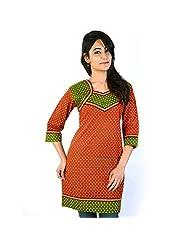 Jaipur RagaJaipuri Designer Red-Green Ethnic Cotton Top Rajasthani Kurti