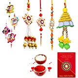 Gomati Ethnic Traditional Rajasthani Fancy 8 Pc Family Rakhi Gift Set Rakhi For Brother With Gift Combo Free Shipping+Roli+Chawal+Greeting Card !! 2Bb4Ks161