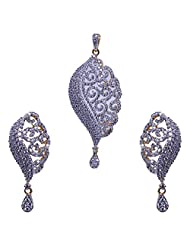 Gehna Alluring Handmade Cubic Zircon Stone Studded Pendant & Earrings Set