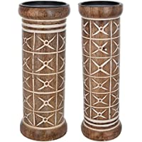 Vritti Designs Wooden Tealight Candle Holders (9.5 Cm X 9.5 Cm X 30.48 Cm, Brown, Set Of 2)