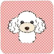 "Caroline's Treasures BB1257FC Checkerboard Pink White Poodle Foam Coaster (Set Of 4), 3.5"" H X 3.5"" W, Multicolor"