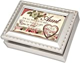 Cottage Garden Aunt Champagne Silver Music Box / Jewelry Box Plays Amazing Grace
