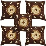 Idrape Velvet 5 Piece Cushion Cover Set- Brown, 40 Cm X 40 Cm