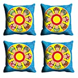 MeSleep Blue Yellow Faces Cushion Cover (16x16)