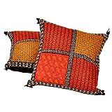 Ufc Mart Bagru Patchwork Pure Cotton Cushion Cover Pair, Color: Multi-Color, #Ufc00512
