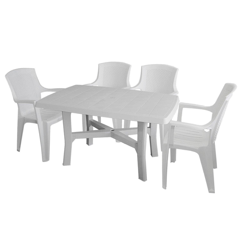 5tlg Gartenmöbel Set Gartentisch 138x88cm 4x