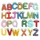 26 Wooden Alphabet Fridge Magnet Educational Study Toy For Children Kids Baby