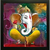 SAF Ganesh Painting || Ganesha Painting || Ganesh Poster || Ganesh Wall Stickers || SAF Exclusive Framed Wall Art Paintings For Living Room And Bedroom. Frame Size (12 Inch X 12 Inch, (Wood, 30 Cm X 3 Cm X 30 Cm, Special Effect Textured)