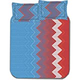 Bianca Chevron Cotton Double Bedsheet With 2 Pillow Covers - Multicolor (BED160)