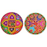 DollsofIndia Pair Of Colorful Paper Sticker Rangoli - Dia 9 Inches Each