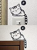 「プログレスコマース」インテリア ウォール アート ステッカー 壁紙 シール 癒し かわいい 居眠り ねこ 2組 セット(オリジナル貼り方説明書付)