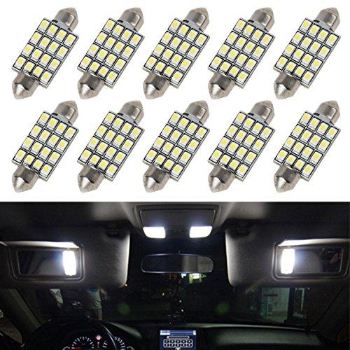 Partsam 10pcs 6000K White 41mm 42mm 43mm Festoon 16-3528-SMD LED Bulbs for Interior Lights Dome Map Trunk Cargo Area Lights 570 578 6413 12V Lamps
