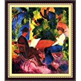 Couple At The Garden Table By Macke - ArtsNyou Printed Paintings - B00QA1DTMY