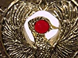Indiana Jones Staff of Ra Headpiece, Antique Gold, Solid Metal, Red Jewel
