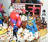 Disney Big Hero 6 Figure Cake Toppers / Cupcake Party Favor Decorations Large Set of 12 with Hiro, Baymax, Wasabi, Fred and Special Temporary Tattoo