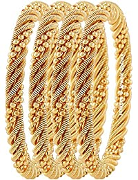 Jewels Galaxy Exclusive Delicate Design Gold Plated Bangles For Women - Set Of 4