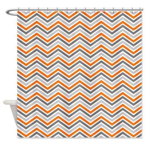 Orange and Gray Chevron Pattern Shower Curtain - Standard White