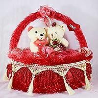 Red Heart Cake Plush Cushion With Love Couple Teddy Bears