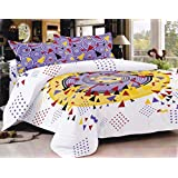 Lali Print Yellow And Purple Musical Circle Print 1 Double Bedsheet And 2 Pillow Covers