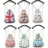 SAIERLONG MsBP Women's And Girl's Backpack School Bag Travel Bag Drawstring Bag flower nylon