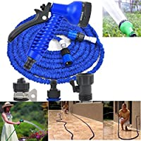 Latex 50 FT Expanding Flexible Garden Water Hose With Spray Nozzle Home Car Trip