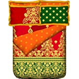Portico New York Band Baja Barat Abstract Satin Cotton Double Bedsheet With 2 Pillow Covers - King Size, Multicolor...
