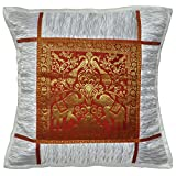 Indian Handmade Elephant Work Design Silk Pillow Cushion Cover 16x16 Inches
