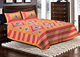 Jaipuri Haat Sanganeri Cotton Double Bed Sheet With 2 Pillow Covers- Yellow