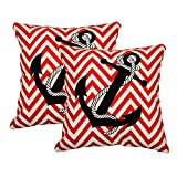 Khrysanthemum Oxford Cotton Nautical Anchor Cushion Cover (Set Of 2) - 16 X 16 Inches, Multi