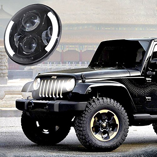 Opar 7inch Round 47.5W Hi/Lo Beam Cree LED Driving Light Headlights Insert with DRL & Turn Signal & Halo Ring Angle Eyes for Jeep Wrangler JK TJ LJ 1997 – 2015 – Pair