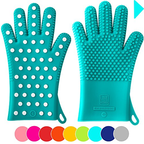 ★ Valentine's Day Deal: Women's Silicone Oven Gloves / Pot Holders in 2 Sizes to Fit Ladies' Hands ★ Great Gifts for Her ★ Mitts are Heat Resistant for Baking & Grilling (1 Pair, M/L, Teal)