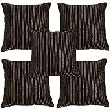 Idrape Polyester 5 Piece Cushion Cover Set- Gold, 40 Cm X 40 Cm
