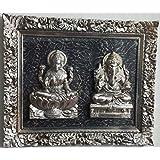 Laps Of Luxury - Laxmi & Ganesha Idol Wall Hanging Glass Frame In Silver, Black & Brown Finish